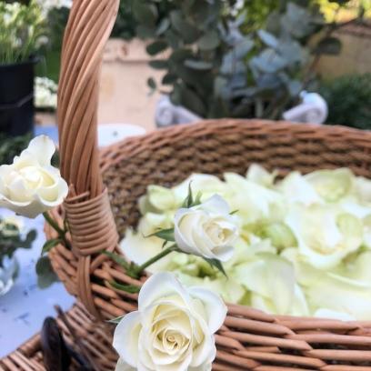 Basket of fresh rose petal confetti