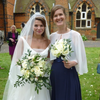 Charlotte and Katie with their bouquets